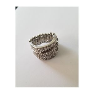 White Rhinestone & Silver Stretchy Back Ring